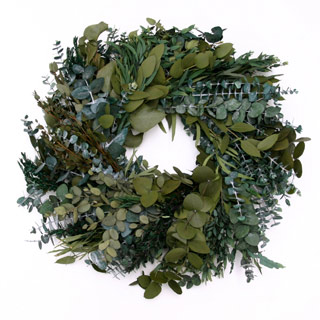 Wreath Mixed Euc Green 24""